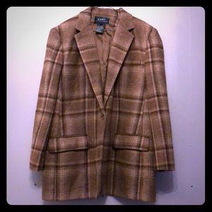 Ralph Lauren 100% wool blazer 16w. Brown plaid